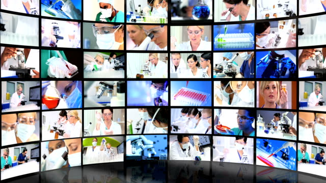 Montage 3D tablet images showing multi ethnic medical professionals Montage video wall 3D  images of multi ethnic healthcare professionals and medical laboratory research workers medicare stock videos & royalty-free footage