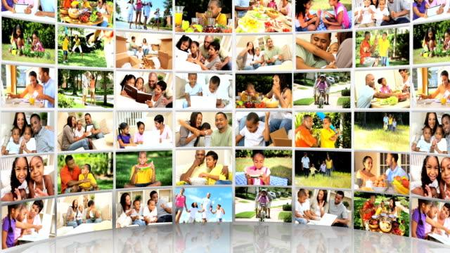 video wall montaggio 3d immagini giovane multi etnico famiglia - composizione video stock e b–roll