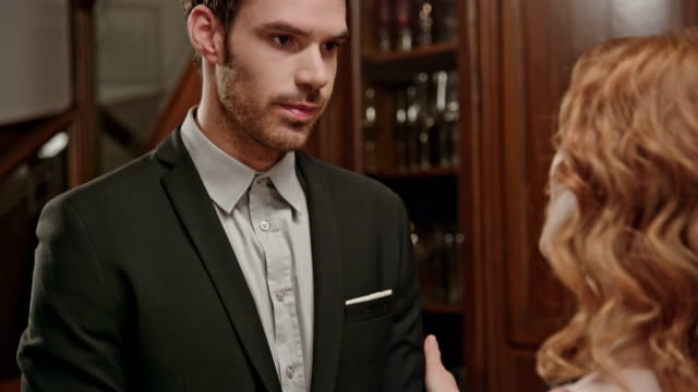 Montage: A scheming  woman trying to convince a man to work in her favor, but he rejects her Montage of clips to look like a soap opera: a woman planning a scheme trying to convince a man to work in her favor, but he sees through the plan and rejects her. Shot in Slovenia. performer stock videos & royalty-free footage