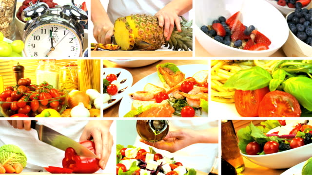 Montage Collection of Healthy Food Preparation