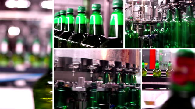 Montage collection of technological line for bottling of beer in brewery video