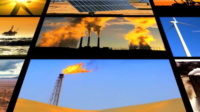 Montage Fossil Fuel Clean Energy Contrast video