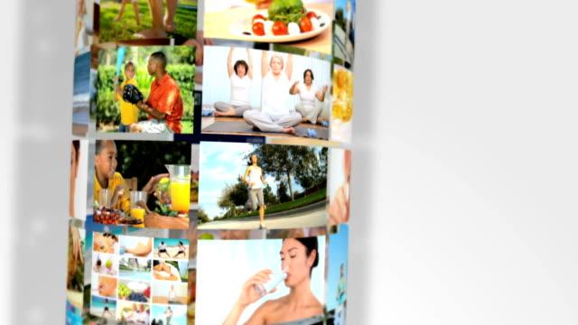montage healthy lifestyle fresh food exercise - spabehandling bildbanksvideor och videomaterial från bakom kulisserna