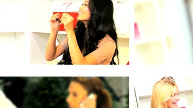 vídeos y material grabado en eventos de stock de chicas de imágenes montaje disfrutando de compras - moda playera
