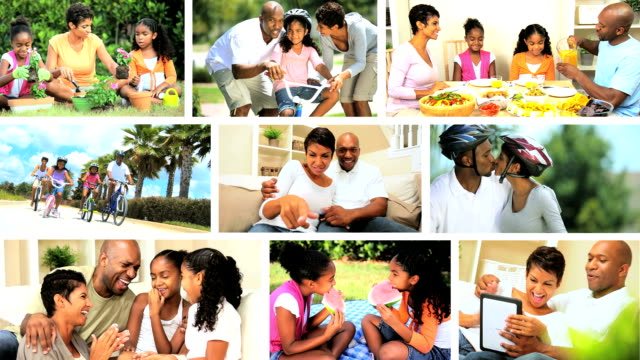 Montage Images of Modern Ethnic Family Lifestyle Montage clips of young African American adults and children enjoying a modern family lifestyle fat nutrient stock videos & royalty-free footage