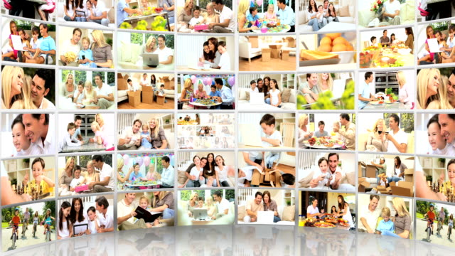 3D montage  images of young Caucasian families video