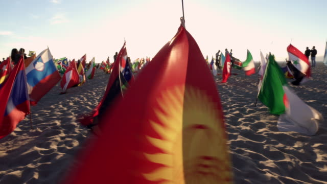 montage - many flag on venice beach at sunset - bandiera nazionale video stock e b–roll