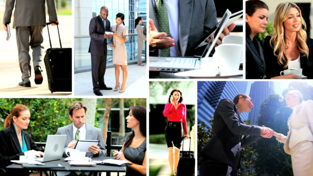Montage Multi ethnic business meetings closing contracts online technology video
