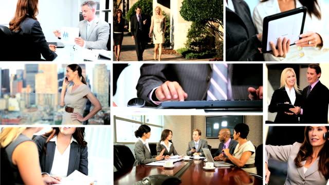 montage multi ethnic business people closing contracts - kommunikationssätt bildbanksvideor och videomaterial från bakom kulisserna