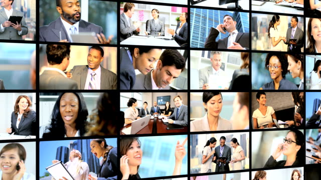 3D montage Multi ethnic financial managers working online video