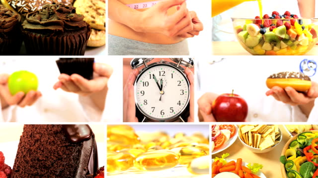 Montage of Choices Between Healthy & Unhealthy Foods