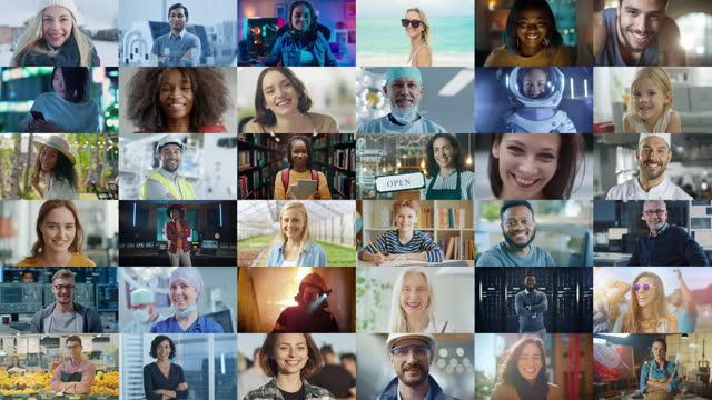 vídeos y material grabado en eventos de stock de montaje de personas multiculturales y multiétnicas felices de diversos orígenes, género, etnia y ocupación sonriendo a posing mirando a la cámara. trabajadores felices del mundo sonriendo alegremente. - mosaico