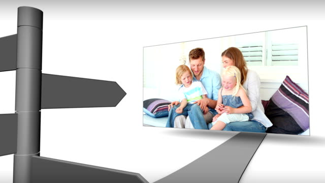 Montage of interception with screens showing family