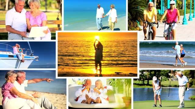 montage of leisure & fitness in retirement - retirement stock videos and b-roll footage