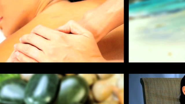 montage von luxus-weibliche spa-lifestyle & recreation - la stone therapie stock-videos und b-roll-filmmaterial