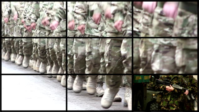 montage of military, army & soldier clips - marines military stock videos & royalty-free footage