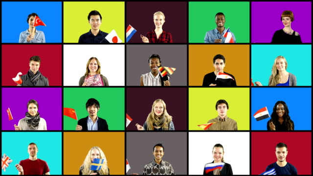 Montage of multiple people waving different flags on Coloured background video