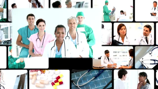 Montage of people in a hospital video
