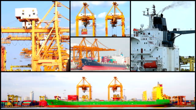 Montage of Port Logistic Freight Background video
