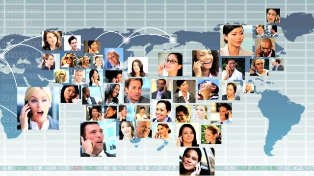 vidéos et rushes de montage usa forme gens d'affaires à l'aide de télécommunications mondiales - mosaïque