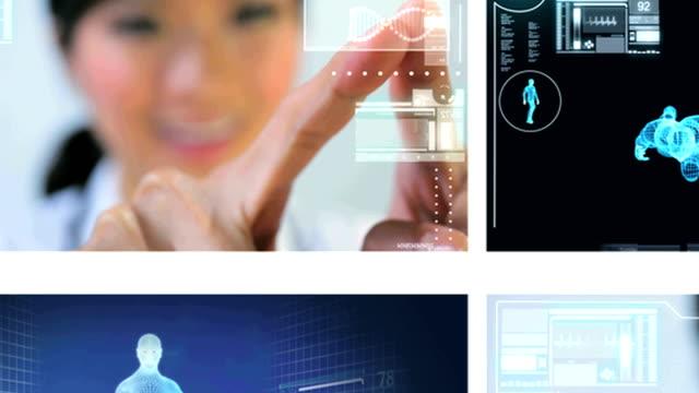 montage virtual medical research - lem kroppsdel bildbanksvideor och videomaterial från bakom kulisserna