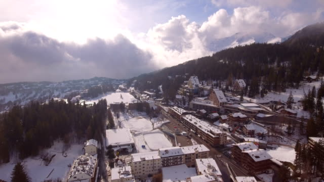 Montana Center travelling - Aerial 4K Crans-Montana, Valais - Switzerland chalet stock videos & royalty-free footage