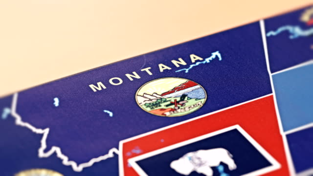 Montana from USA States tracking to Montana from USA States map videos stock videos & royalty-free footage