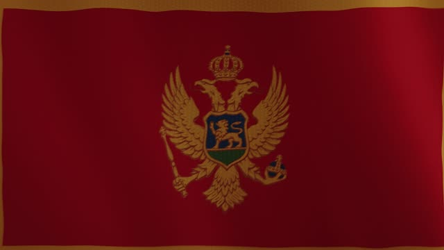 Montenegro flag waving animation. Full Screen. Symbol of the country video