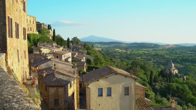 Montepulciano, Siena, Italy. Panoramic view of the city at sunset