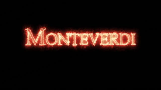 vídeos de stock e filmes b-roll de monteverdi written with fire. loop - compositor