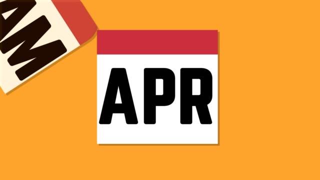 Monthly calendar been ripping off loop infographics orange video