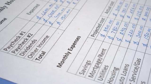 monatliche budgetplanung für familien. haushaltsbuchhaltung und wirtschaftswissenschaften auf dem papier. budgetierung von eigenheimen. berechnung von erträgen und aufwendungen - hypothek stock-videos und b-roll-filmmaterial