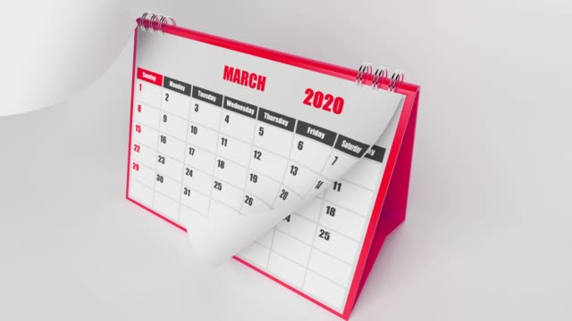 Months Of Calendar 2020 Year On White Background