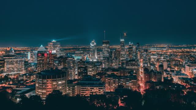 montreal, kanada, timelapse - the skyline bei nacht - panorama stock-videos und b-roll-filmmaterial