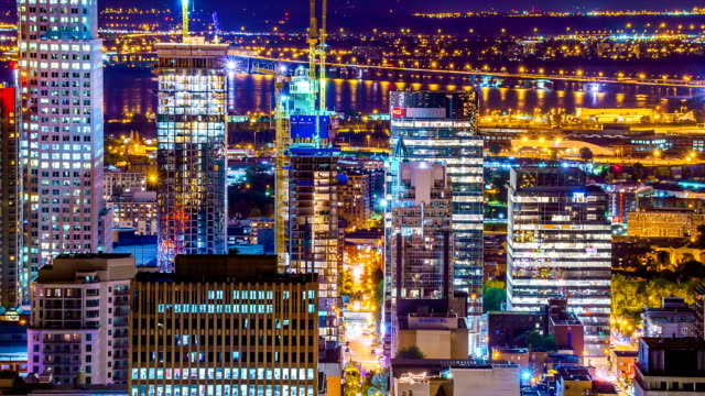 Montreal City At Night Time Lapse video