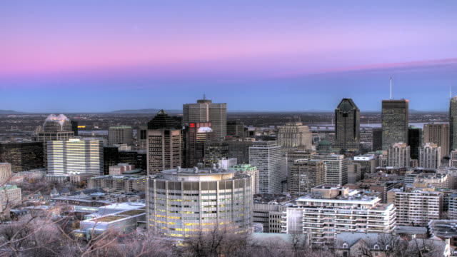 Montreal downtown day to night time lapse video
