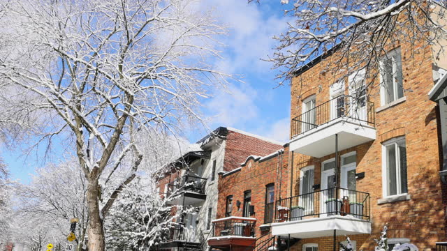 Montreal Rosemont area residential buildings upper stories after a snow storm