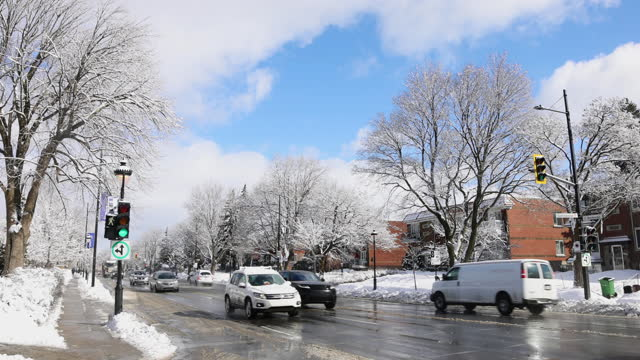 Montreal Sherbrooke street city scene after a snow storm