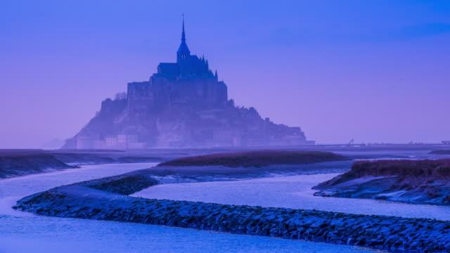 Mont-Saint-Michel at sunset, time lapse video