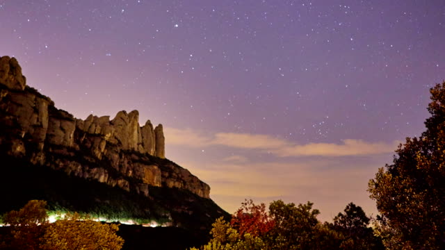 Montserrat sky rotating during perseids night - Time lapse video