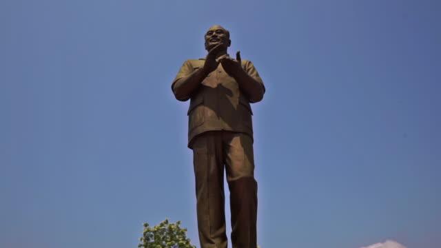 Monument to President Souphanouvong, Luang Prabang, Laos, tilt up