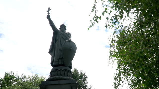 Monument to Prince Vladimir in Belgorod - the largest monument in Russian city Monument to Prince Vladimir in Belgorod - the largest monument in the Russian city, towering on the slopes of the Kharkov mountains royalty stock videos & royalty-free footage