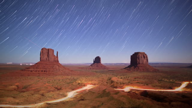 Monument Valley night time lapse video