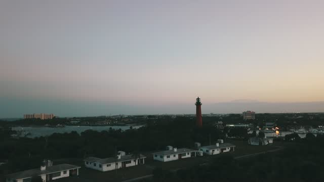 Moody Aerial Views of the Jupiter Lighthouse at Sunset in Jupiter, Florida in 2021