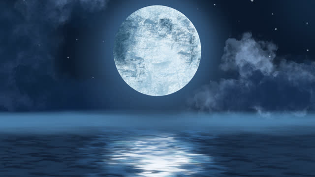 Moon above water at night animation