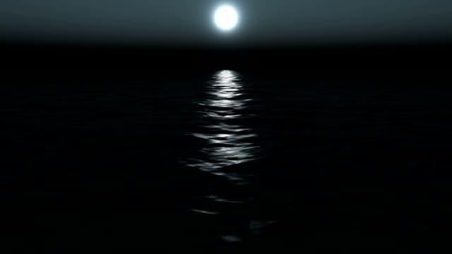 moon at coast of the sea, loop video