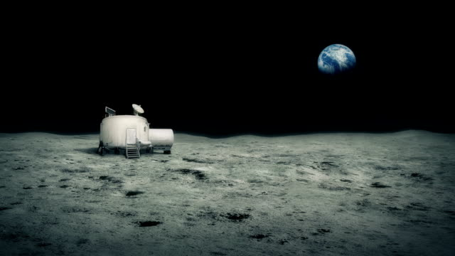 Moon Base With Earth In The Distance video