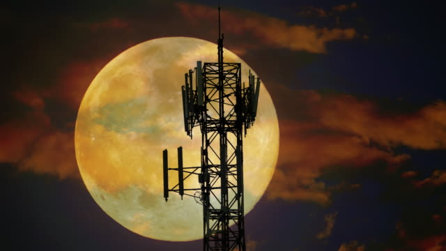 Moon behind the antennas video