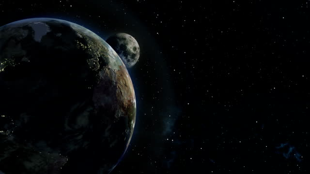 Moon Emerging From Behind Earth 3D Illustration video