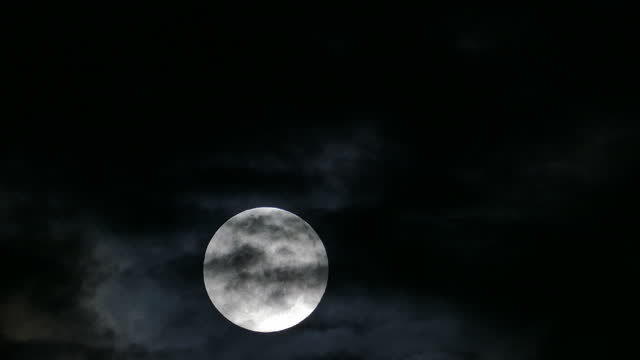 Moon in dark sky, Time lapse.